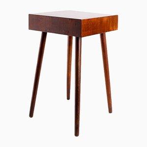 Tavolino piccolo vintage brutalista impiallacciato in legno di noce