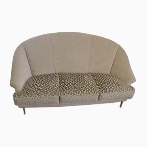 Italian Sofa with Brass Hairpin Legs from I.S.A., 1950s