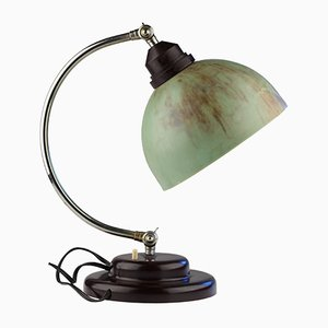 Vintage Art Deco Desk Lamp with Green Bakelite Shade