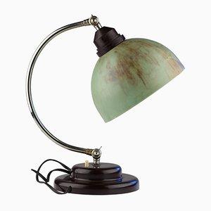 Vintage Art Deco Schreibtischlampe mit Grünem Schirm aus Bakelit
