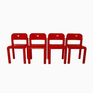 Chaises en Plastique Rouge par Eero Aarnio pour UPO, 1970s, Set de 4