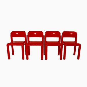 Red Plastic Chairs by Eero Aarnio for UPO, 1970s, Set of 4