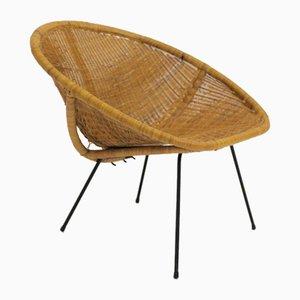 Club chair in vimini, anni '50