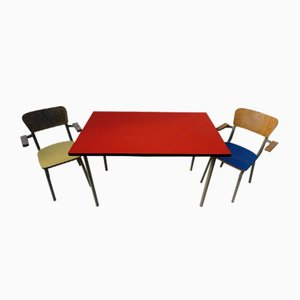 Vintage Children's School Desk and Chairs Set by Willy van der Meeren for Tubax