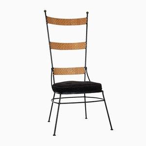 Stuhl aus Metall & Rattan, 1950er