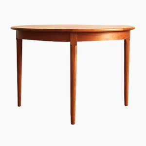 Round Danish Mid-Century Teak Dining Table from Uldum