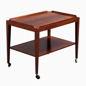 Tavolino in palissandro con rotelle di Haslev, anni '60