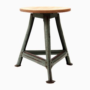 Vintage Industrial Stool in Steel and Beech