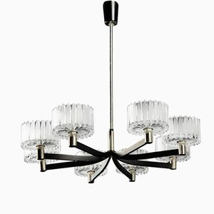 German Crystal Chandelier with 8 Shades, 1960s