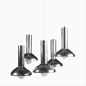 German Mid-Century Five-Light Pendant Lamp in Chrome from Hustadt-Leuchten, 1970s