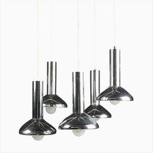 Lámpara colgante alemana Mid-Century de metal cromado con cinco luces de Hustadt-Leuchten, años 70