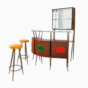 Mobile bar Mid-Century con sgabelli, set di 3
