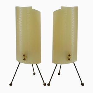 Lámparas de noche trípode de latón con pantalla de plexiglás en beige, años 50. Juego de 2
