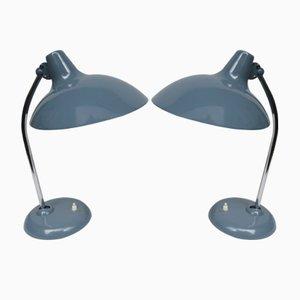 Lámparas de mesa en azul paloma de cromo de Kaiser Leuchten, años 50. Juego de 2