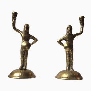 Portacenda in bronzo a forma di cavalieri di Tudor con armatura, XIX secolo, set di 2