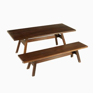 Vintage Italian Torbecchia Walnut Veneered Table with Bench by Michelucci for Poltronova