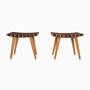 Mid-Century Beech Stools with Canvas Upholstery, Set of 2