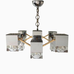 Mirrored Chandelier with Glass Cubes and Brass by Gaetano Sciolari, 1970s