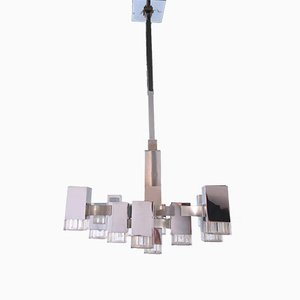 Lustre à 13 Lampes Multi-Niveau en Métal et Lucite par Gaetano Sciolari, 1970s