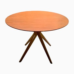 Round Italian Beech Table, 1950s