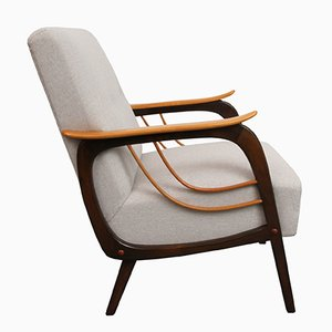 Sessel mit Beigem Bezug, 1950er