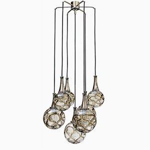 Lámpara cascada alemana con globos de vidrio, años 60