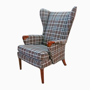 Checkered Wingback Chair With Teak Legs From Parker Knoll, 1960s