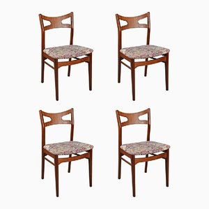 Floral Teak Dining Chairs, 1960s, Set of 4