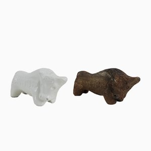 Ceramic Bulls by Aldo Londi for Bitossi, 1960s, Set of 2