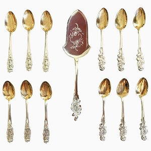 French Silver and Gold Tea or Coffee Spoons with Cake Server, 1950s