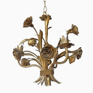 Mid-Century Gilded Rose Chandelier, 1960s