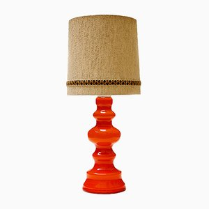 German Orange Glass Table Lamp, 1960s