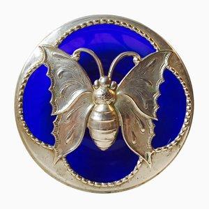 Französisches Blaues Art Deco Schmetterling Glasgefäß, 1920er