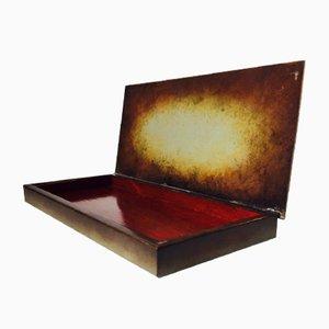 Boîte à Crayons ou à Jeux Art Déco en Bronze Émaillé d'Ystad Brons, Suède, 1940s