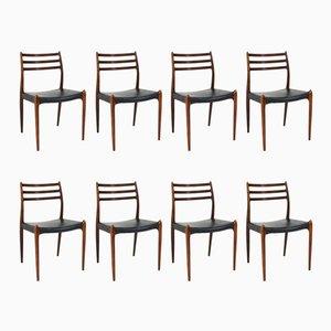 Chaises 78 Mid-Century Moderne en Palissandre par Niels O. Møller pour J.L. Møllers, 1960s, Set de 8