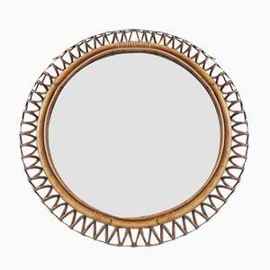 Espejo francés de bambú y ratán, años 60