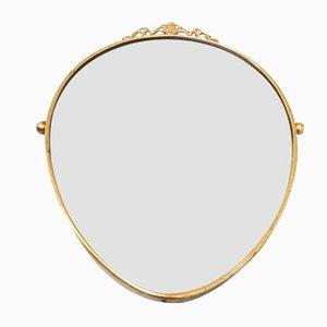 Specchio Mid-Century con cornice in ottone, Italia