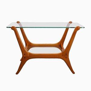 Mesa auxiliar Mid-Century moderna de teca y vidrio