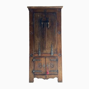 16th Century Dutch Solid Oak Cabinet & Drop Down Table, 1570s