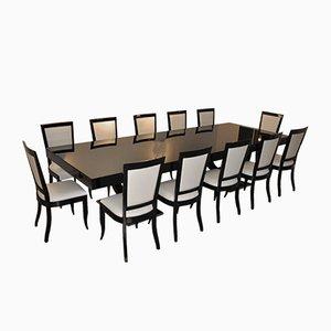 Tavolo da pranzo Art Déco con 12 sedie abbinate