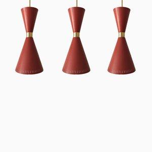 Lámparas colgantes Diabolo Mid-Century, años 50. Juego de 3
