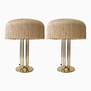 Large Mid-Century Brass Table Lamps, Set of 2