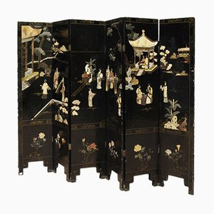 Mid-Century French Chinoiserie Screen with Soapstone
