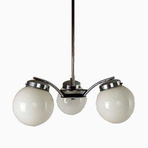 Lampe à Suspension Art Déco en Métal Chromé & Verre de Napako, République Tchèque