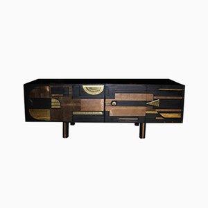 Walnuss Sideboard mit Messing und Kupfer Intarsie, 1989