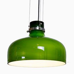 Lámpara colgante de vidrio verde de Holmegaard, años 60