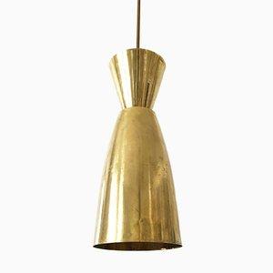 Mid-Century Large Diabolo Brass Pendant Light