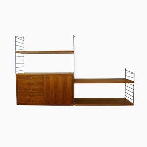 Teak Wandregal mit Schubladen von Nisse Strinning für String Design AB, 1950er