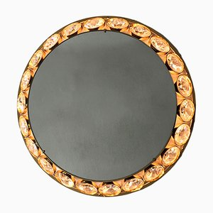 Mid-Century Modern Illuminated Crystal Wall Mirror