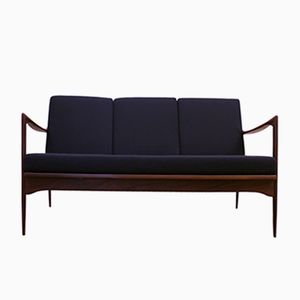Mid-Century Swedish Afromosia & Wool Kandidaten Sofa by Ib Kofod-Larsen for OPE, 1950s